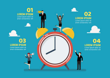 Tiny business people with alarm clock infographic. vector illustration business concept