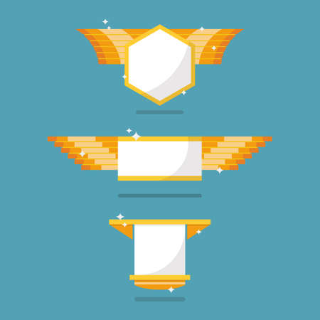 Golden badge symbol collection. Vector illustration Vectores