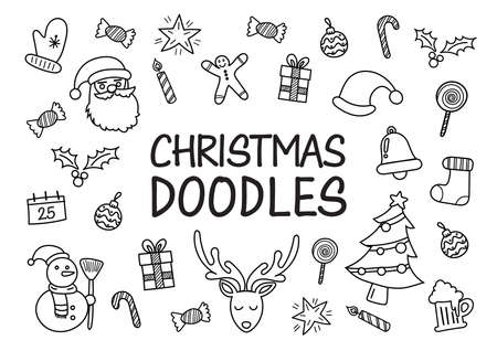 Christmas doodles hand drawn icons. Vector illustration