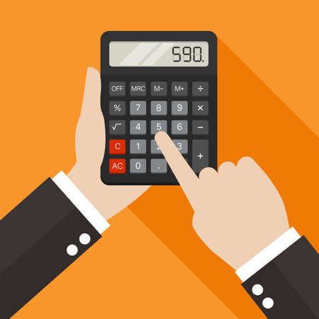 Hands holding and using a calculator. Vector illustration