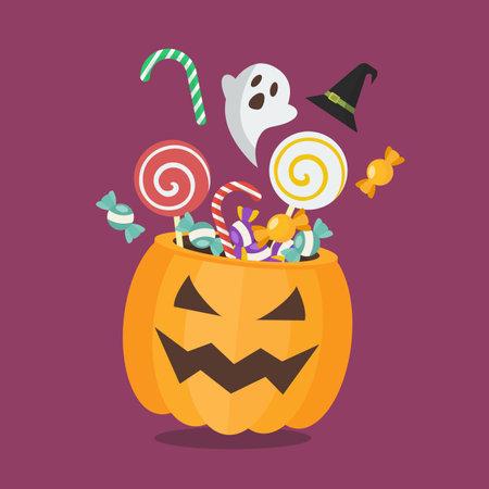 Sweet with Halloween pumpkin basket. Flat style vector illustration. Vectores