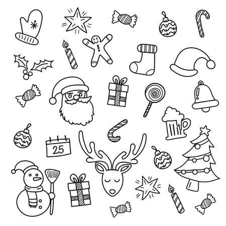 Christmas doodles hand drawn. Vector illustration