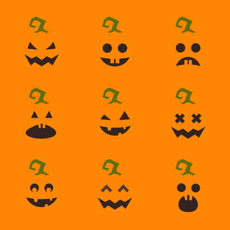 Set of Halloween pumpkin faces on orange background. Funny cartoon emoticons Vectores