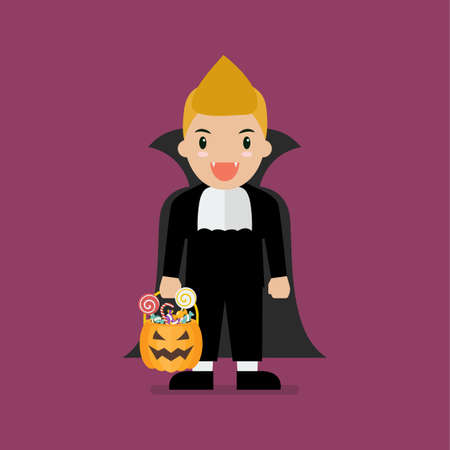 Boy with pumpkin basket dressed in vampire costume. Halloween holiday party. Vector illustration