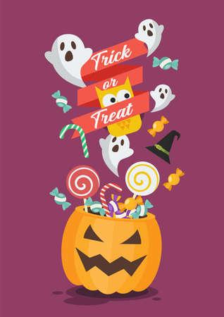 Halloween pumpkin basket on Trick or Treat Poster. Flat style vector illustration. Vectores