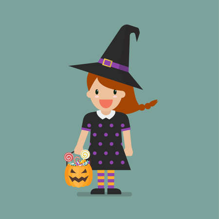 Girl in witch costume. Halloween holiday party. Vector illustration