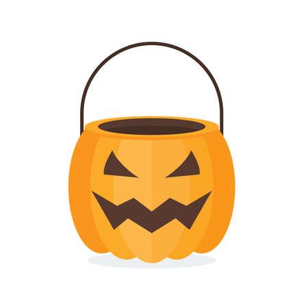 Halloween pumpkin basket. Jack o lantern Bowl. Flat style vector illustration.