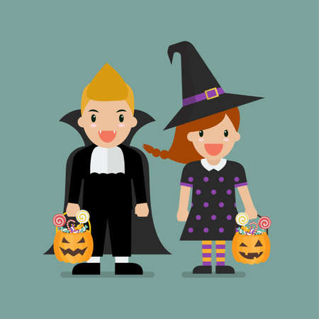 Children with pumpkin basket dressed in Halloween costumes. Halloween holiday party. Vector illustration