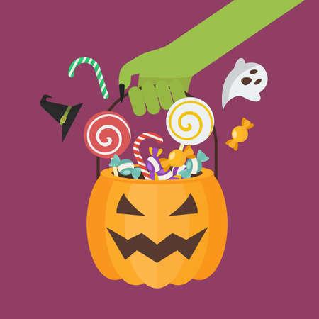 Green zombie hand holding halloween pumpkin basket. Flat style vector illustration. Vectores