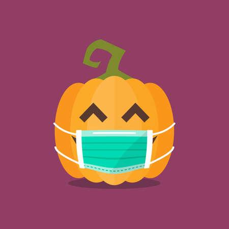 Halloween pumpkin wearing medical mask. Funny cartoon emoticons.  virus concept