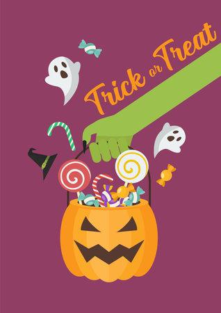 Green zombie hand holding halloween pumpkin basket poster. Flat style vector illustration. Vectores