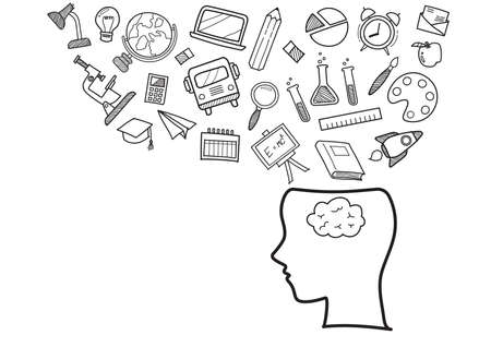 Human head with education doodles icons. Hand drawn elements design style