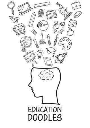 Human head with education doodles icons collection. Hand drawn elements design style Vectores