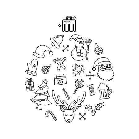 Christmas doodles elements laid out in shape of christmas ball. Hand drawn vector illustration