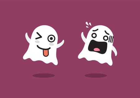 Funny Ghosts Character. emoji cartoon emoticons