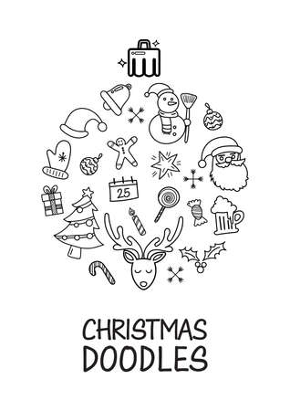 Christmas doodles elements laid out in shape of christmas ball poster. Hand drawn vector illustration Vectores