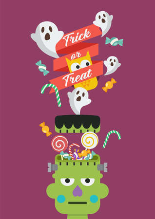 Green zombie head with sweet candy poster. Vector illustration