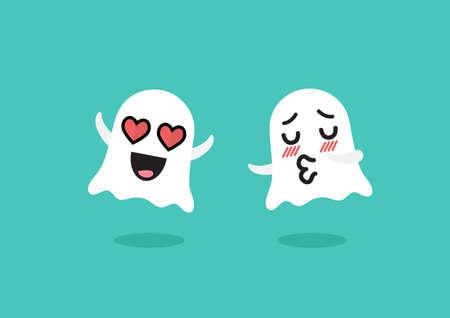 Couple ghosts emoji character. Funny cartoon emoticons Vectores