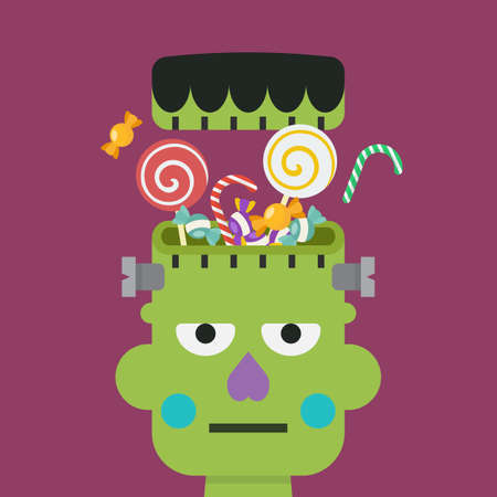 Green zombie head with sweet candy. Vector illustration