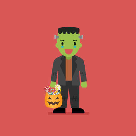 Boy with pumpkin basket dressed in green zombie costume. Vector illustration