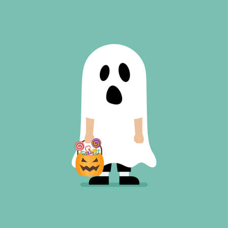 Boy with pumpkin basket dressed in ghost costume. Halloween holiday party. Vector illustration