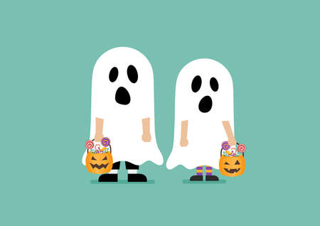 Children with pumpkin basket dressed in ghost costumes. Halloween holiday party. Vector illustration Vectores