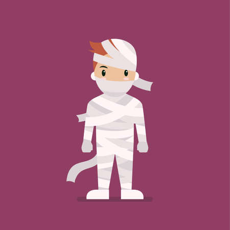 Boy dressed in mummy costume. Halloween holiday party. Vector illustration