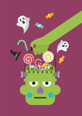 Zombie hand holding green zombie head basket. Flat style vector illustration.