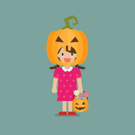 Girl with pumpkin basket wearing a pumpkin head costume. Halloween holiday party. Vector illustration