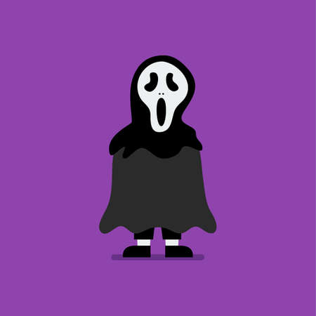 Boy dressed in scary ghost costume. Halloween holiday party. Vector illustration