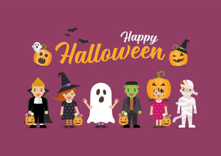 Happy Halloween children in scary different costumes. Collection of cartoon children in carnival costumes. Vector illustration