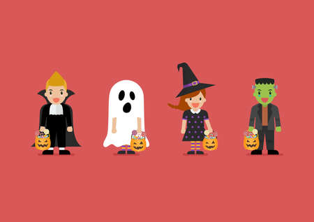 Children dressed in Halloween costumes. Halloween holiday party. Vector illustration
