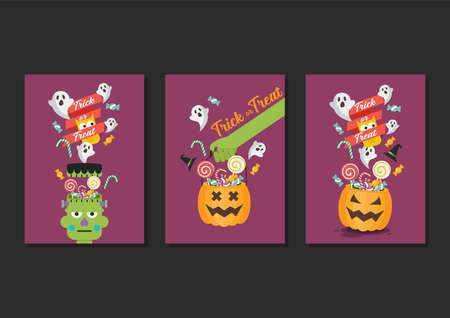 Halloween Trick or Treat Poster Collection. Flat style vector illustration. Vectores