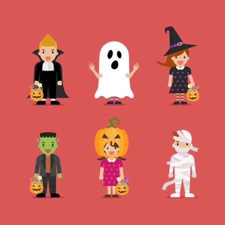 Happy children in scary different costumes. Halloween holiday party. Vector illustration