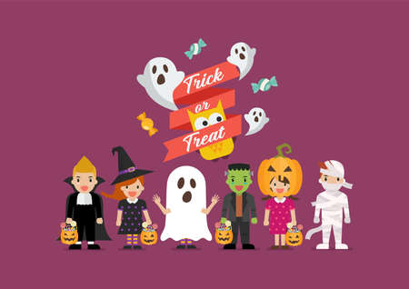 Halloween party children in scary different costumes. Collection of cartoon children in carnival costumes. Vector illustration Vectores