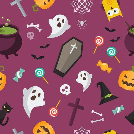 Halloween elements seamless pattern. Halloween background. Vector illustration Vectores
