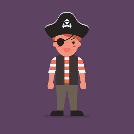 Kid wearing a pirate costume. Halloween holiday party. Vector illustration
