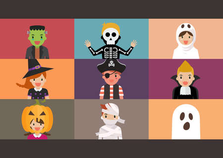 Halloween party video conference. Children in horror costumes on laptop screen have video conference. Vector illustration Vectores
