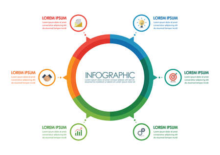 Circle infographic chart template. vector illustration