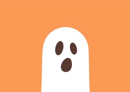 Ghost on orange background. Vector illustration