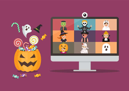 Halloween party video conference on computer display. Kids in horror costumes on pc screen. Vector illustration Vectores