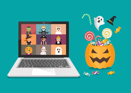 Online Halloween Party Concept. Kids in horror costumes on laptop screen. Vector illustration