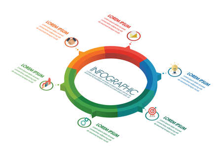 Circle infographic isometric design. vector illustration Vectores
