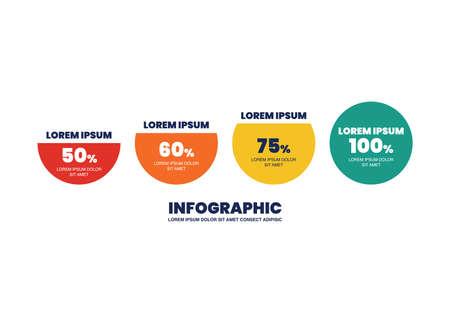 Circle infographic percentage design. vector illustration