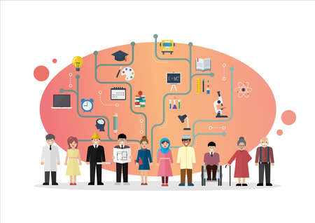 People with Education Concept. Education infographic in flat style. Vector illustration
