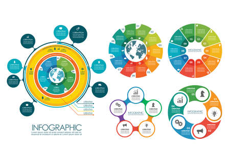 Circle infographic templates collection. vector illustration