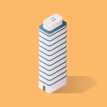 Isometric Futuristic Building. Vector illustration Vectores