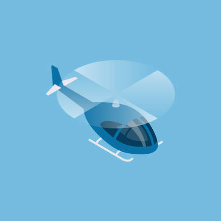 Flying helicopter isometric view. Vector illustration