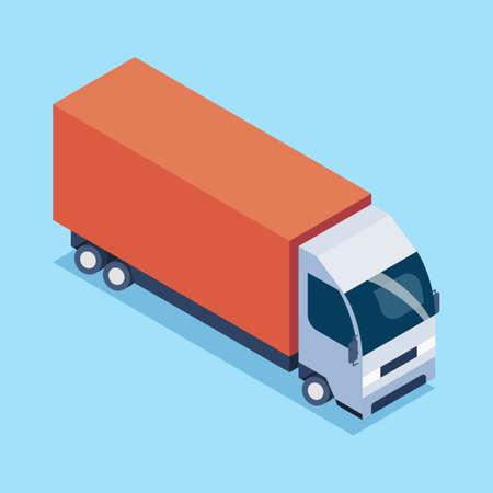 Cargo Truck transportation in isometric view. Vector Illustration