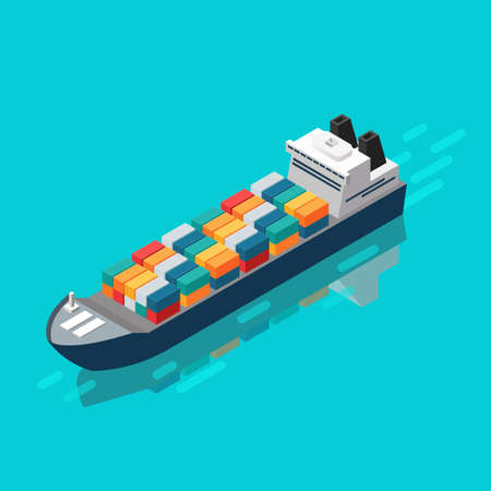 Container ship in isometric view. Vector Illustration Vectores